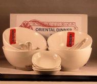 Vitrified Porcelain Chinese White Dinner Set for FOUR -  4 Rice & Dip Bowls Spoons & 8 Black Chopsticks